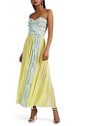 1db96724ff31a J. Mendel Womens Silk Plissé Chiffon Cocktail Dress - Yellow Size 8