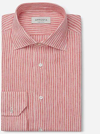 Apposta Camicia righe rosso lino tela lino normandia, collo stile semifrancese