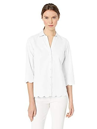 eb6e5af4732808 Foxcroft Womens Lilith Essential Non-Iron Scallop Hem Shirt, White 6