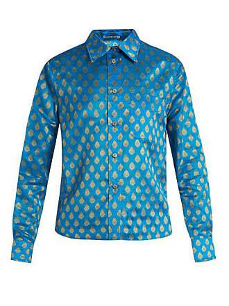 Miu Miu Point Collar Leaf Jacquard Shirt - Womens - Blue