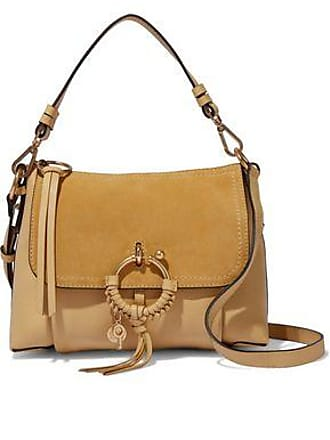 See By Chloé See By Chloé Woman Joan Suede-paneled Textured-leather Shoulder Bag Beige Size