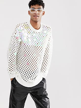 Asos crochet knit sweater with sequins - White