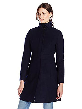 Via Spiga Womens Mid-Length Stand Collar Wool Coat with Waist Slimming Detail, Solid Navy, 10