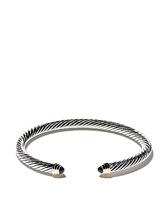 David Yurman Cable Classics sterling silver, onyx & 14kt yellow gold accented cuff bracelet - S4bbo