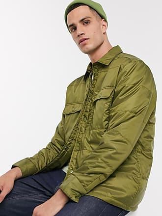 Weekday Jamie padded overshirt jacket in khaki-Green