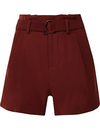 Vince Belted Pleated Crepe Shorts - Burgundy