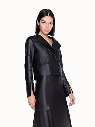 Akris Cropped Leather Jacket with Slit Sleeves