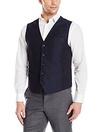 Perry Ellis Mens Linen Suit Vest, Navy-4BHV4454, Large