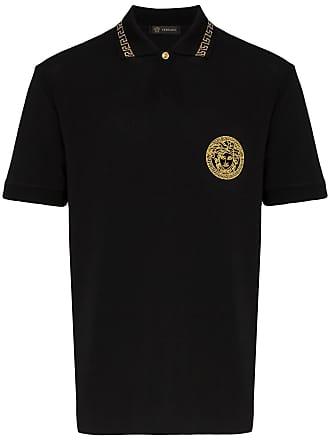 Versace medusa embroidered cotton polo shirt - Black