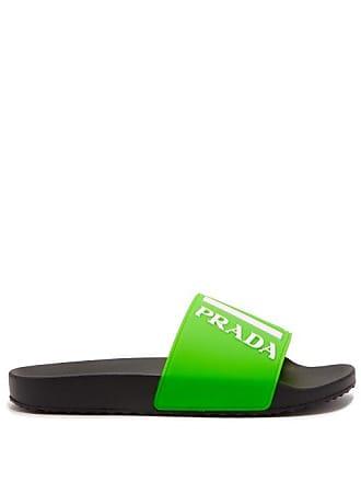 Prada Logo Embossed Rubber Slides - Mens - Green