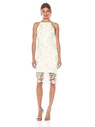 d2578c8394c4 Nicole Miller Womens Sleveeless Metallic Floral lace Sheath Dress,  Gold/Ivory, 10