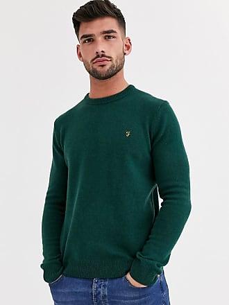 Farah Rosecroft - Grüner Pullover aus Lammwolle mit Rundhalsausschnitt
