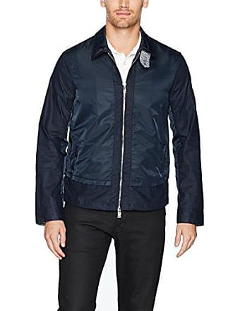 A|X Armani Exchange Mens Linen Coutton Lightweight Jacket, Navy, Large