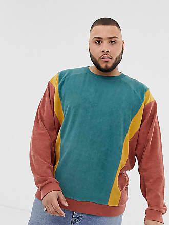 Asos Plus oversized sweatshirt in towelling with color blocking in brown - Brown