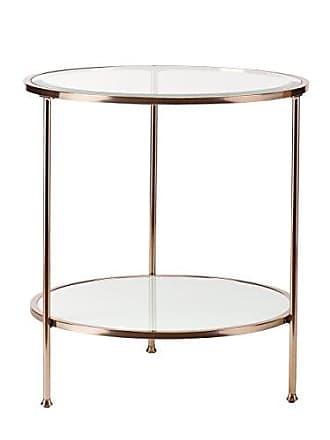 Southern Enterprises Risa Metallic Frame End Table - 2 Tier Glass Shelves - Gold Metal Grame
