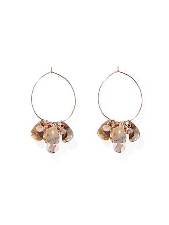 Forever New Jada Bead and Resin Jingle Hoop Earrings - Rose Gold & Neutral - 00