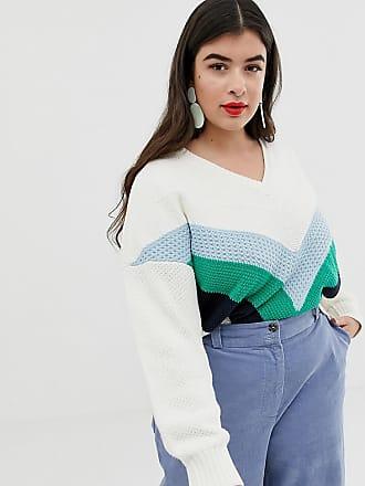 Vero Moda Curve chevron color block sweater - Multi