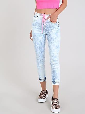 Sawary Calça Jeans Feminina Sawary Jogger com Cordão Neon Azul Médio