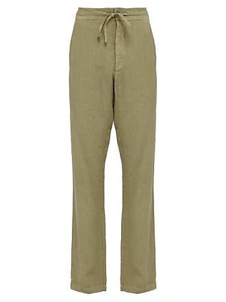 120% Lino Mid Rise Linen Trousers - Mens - Khaki