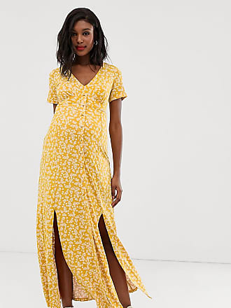 79ddbc7a92 Asos Maternity ASOS DESIGN Maternity exclusive button through maxi tea dress  with splits in ditsy print
