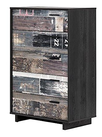 South Shore Furniture 11755 Fynn 5-Drawer Chest, Gray Oak and Factory Planks Effect