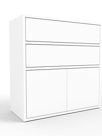 MYCS Kommode Weiß - Lowboard: Schubladen in Weiß & Türen in Weiß - Hochwertige Materialien - 77 x 80 x 35 cm, konfigurierbar