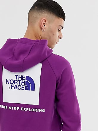 The North Face Violetter Kapuzenpullover mit Raglanärmeln und rotem Kastenlogo