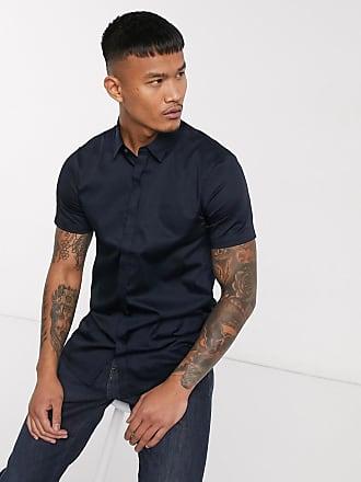 A X Armani Exchange short sleeve logo shirt in navy