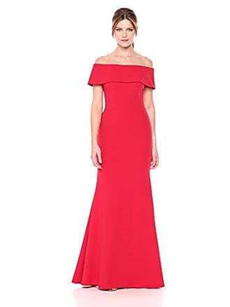 25ee2fa389492 Betsy & Adam Womens Long Off The Shoulder Ruffle Back Dress, red, ...