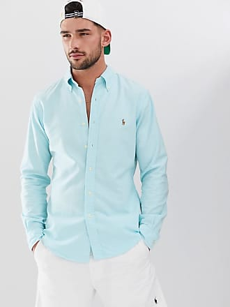 55344dc60 Polo Ralph Lauren multi player logo button down oxford shirt slim fit in  turquoise blue