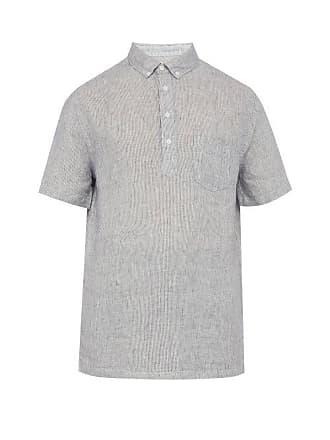 Onia Josh Striped Linen Shirt - Mens - Navy