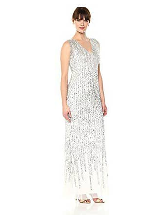 a76babb51e0 Adrianna Papell Womens Striped Fringe Long Dress, Ivory, 14. USD $349.00