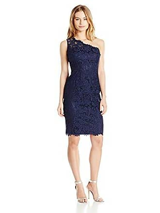 6ba79c90 Eliza J Womens One Shoulder Lace Sheath (Regular & Petite), Navy, ...