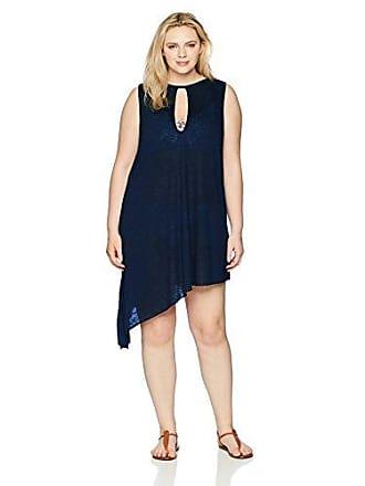 c70b4ce091 BECCA by Rebecca Virtue Womens Plus Size Breezy Basics Keyhole Dress Cover  Up, Indigo,