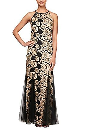 Alex Evenings Womens Petite Embroidered Dress with Illusion Neckline, Black/Gold, 6P