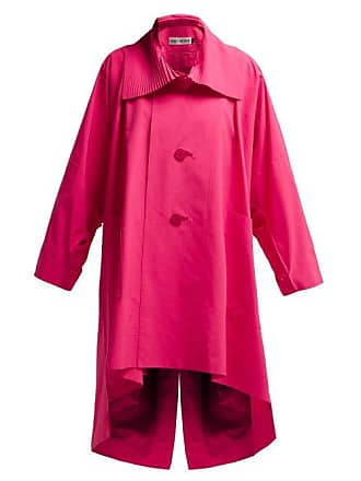 Issey Miyake Oversized Pleated Collar Canvas Overcoat - Womens - Pink
