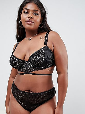 2246034f67 Asos Curve ASOS DESIGN Curve geo lace strappy thong - Black
