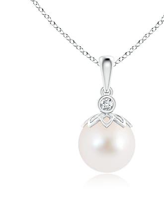 Angara Valentine Day Sale - Freshwater Cultured Pearl and Diamond Pendant