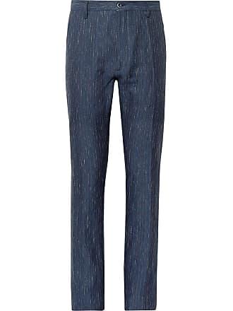 Zanella Navy Noah Slim-fit Slub-striped Linen And Cotton-blend Trousers - Navy