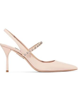 007f0882fc9 Miu Miu Crystal-embellished Patent-leather Slingback Pumps - Baby pink