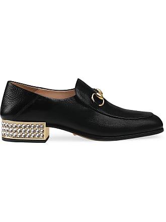 Gucci mocassins à talon orné de cristaux - Noir ccbcd0b51c8d