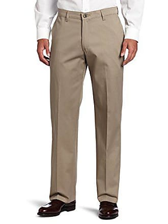 Lee Lee Mens Comfort Waist Custom Relaxed Fit Flat Front Pant, Mid Khaki, 40W x 34L