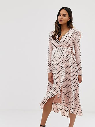 Queen Bee wrap front ruffle midi dress in pink polka - Multi