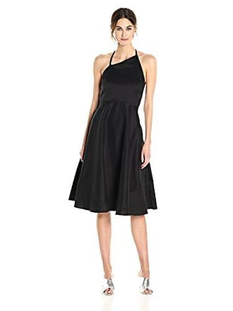 Betsey Johnson Womens Stretch Cotton Fit and Flare Halter Dress, Black, 12