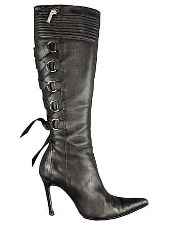 de82ede5ec8 Versace Size 8 Black Corset Back Pointed Knee High Boots