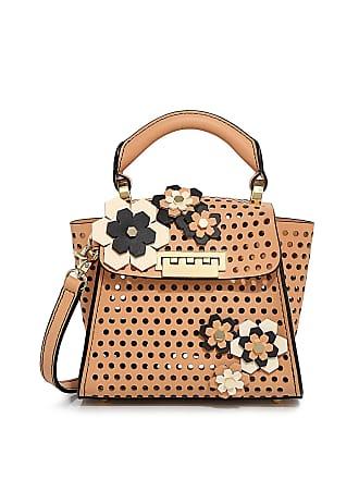 Zac Posen Eartha Hex Floral Kit Mini Top Handle Bag Tan