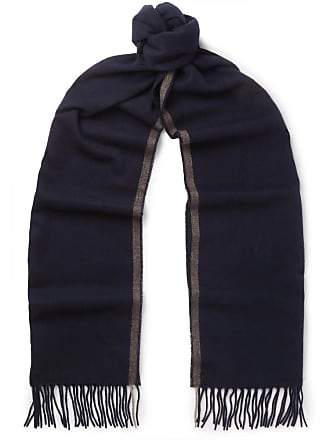 Brunello Cucinelli Fringed Striped Cashmere Scarf - Navy
