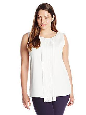 Calvin Klein Womens Plus Size Sleeveless Fringe Blouse, Soft White, 0X