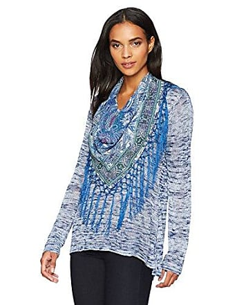 Oneworld Womens Plus Size Long Sleeve Sweater with Fringe Scarf, Initial Phase- Starry Blue, 2X