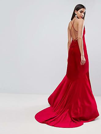 73fe3bd0 Asos ASOS RED CARPET Velvet Deep Plunge Strappy Maxi Dress - Red